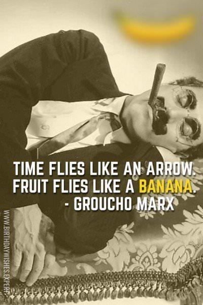 Time flies like an arrow. Fruit flies like a banana. - Groucho Marx
