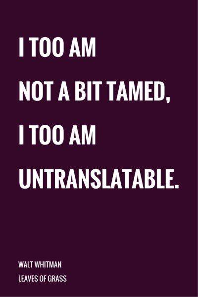 I too am not a bit tamed, I too am untraslatable. Walt Whitman