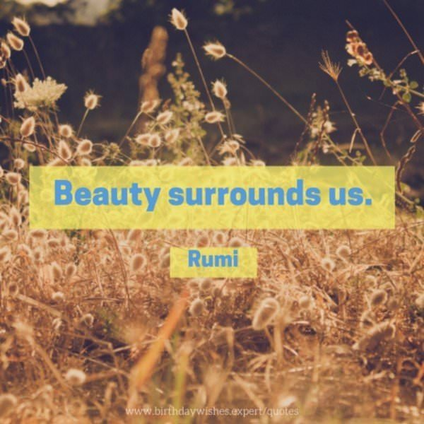 Beauty surrounds us. Rumi.