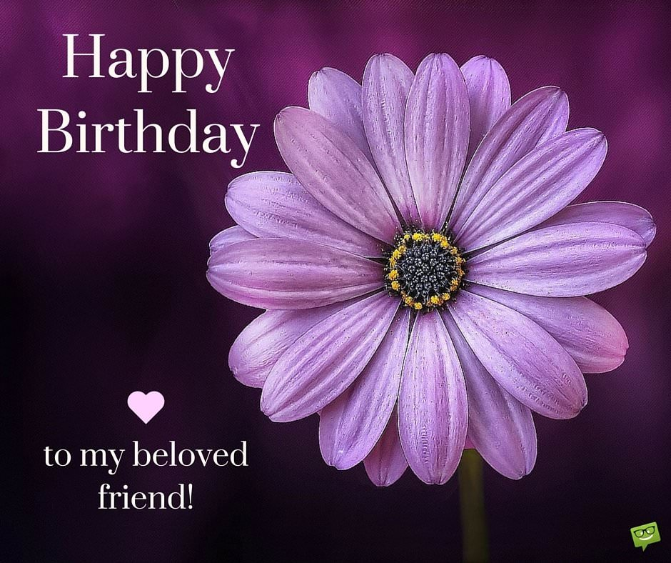 Happy Birthday to my beloved friend. On image wtih purple flower