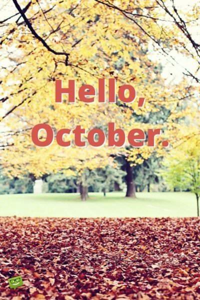 Hello, October.