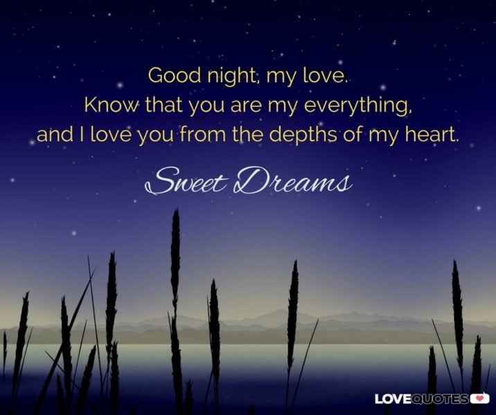 Good night, my love. Know that you are my everything, and I love you from the depths of my heart. Sweet dreams.